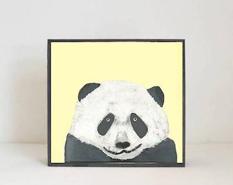 panda bear nursery art, animal print, nursery decor, boho nursery, yellow nursery decor, art block, zoo animal print, redtilestudio
