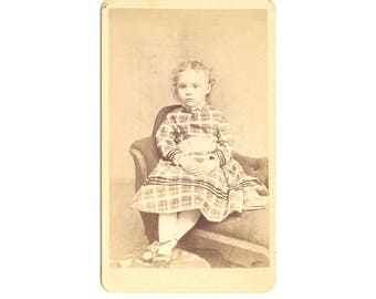 Small Vintage Cabinet Card Curly Hair Girl in Plaid Dress with Bows on Her Shoes Little Settee J. S. Hovey Photographer Rome New York
