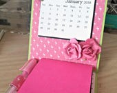 2018 Handmade Flamingo Desktop Calendar with Post-its