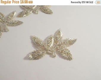 ON SALE Silver Leaf Design Beaded Appliqué --One Piece
