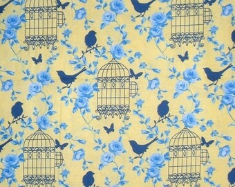 ON SALE Blue on Yellow Birdcage Print Pure Cotton Fabric from TImeless Treasures--One Yard