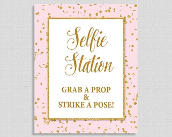 Selfie Station Table Sign, Pink & Gold Glitter Confetti Shower Sign, Wedding, Baby Shower Sign,  INSTANT PRINTABLE
