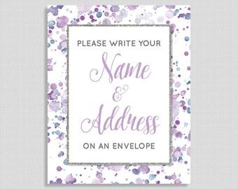 Lavender Address an Envelope Shower Table Sign, Lavender Splash Shower Table Sign, Neutral Baby, Bridal Shower Sign, INSTANT PRINTABLE