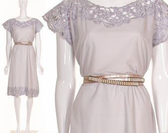 Vintage 70's Lavender Purple Floral Cut Lace Dress Spring Dress Bali Cut out Lace Dress Small Medium