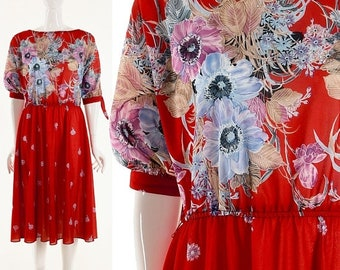 MOVING SALE Red Dress Floral Red Dress Knee Length Watercolor Floral Print Dress