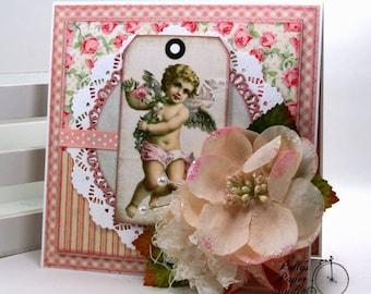 Shabby Chic Inspired Valentine Cherub Greeting Card Polly's Paper Studio Handmade