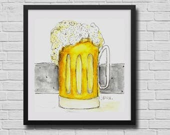 Beer Mug print, Beer wall art, pub art, Groomsman Gift, Personalized gifts, man cave decor, Craft Beer Decor, art for bar, kitchen prints