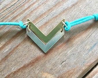 Double Chevron Bracelet Gift ready to Ship Adjustable