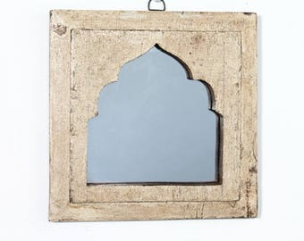Moroccan Mirror Vintage Wood Frame Wall Art Distressed Creamy Yellow Wall Mirror Turkish Decor