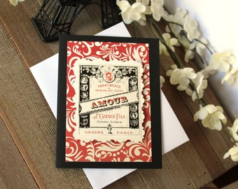 Handmade Valentine's Day Card, Love, Amour, Red Floral, Victorian French Advertising, Typography, Unique, One of a Kind, Free US Shipping