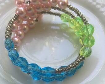 Mori Girl - Mori Girl Jewelry - Memory Wire Bracelet - Beaded Bracelet - Bohemian Jewelry Bracelet - Art Deco Bracelet - Art Deco Jewelry