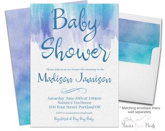 Printable Baby Shower Invitation - Baby Boy Invitation - Baby Boy Invite - Boys Baby Shower Invite - Watercolor Baby Shower - Baby Sprinkle