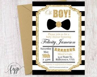 Boy Baby Shower Invitation, Boy Baby Shower Invite, Little Man Baby Shower,  Bow