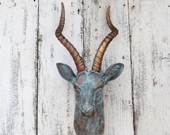 ON SALE Patina Antelope Head~Faux Taxidermy~Antelope Decor~Gazelle  Head~Patina~Taxidermy