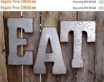 ON SALE Eat Wall Word // Industrial // Rustic Kitchen // Large Metal Letters // Eat Kitchen Sign // Eat Sign