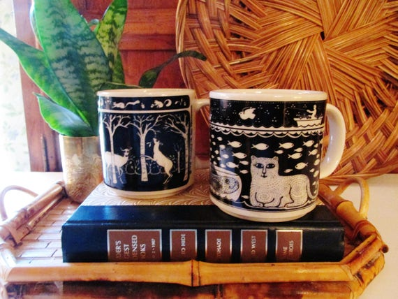 SALE...Two Taylor & Ng Mugs, Folk Art Mugs, Cat Mug, Deer Mug, Gift for Him, Black and White Mugs