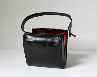 1950s Leather Box Purse // 50s Vintage Small Square Shaped Top Handle Handbag // Peck & Peck Fifth Avenue New York