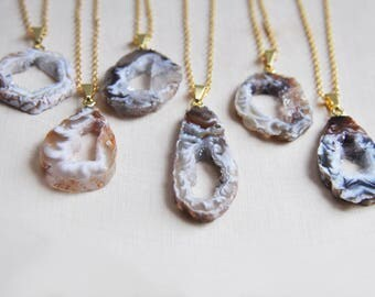 Geode Necklace, Raw Geode Necklace, Raw Stone Necklace, Rough Cut Necklace, Druzy Necklace, Boho Necklace, Agate Necklace, Natural Stone