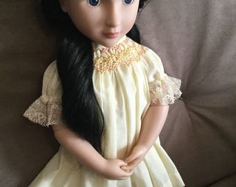 14-16inch doll yellow smocked dress