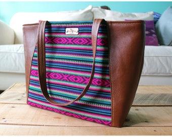 Everyday tote bag - recycled leather handbag - recycled leather purse - leather tote bag -tote bag -  travel bag - aztec handbag - aztec bag