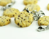 Food Jewelry, Cookie Charm, Miniature Food Jewelry, Chocolate Chip Cookie, Polymer Clay Food, Stitch Marker, Food Charm, Progress Keeper