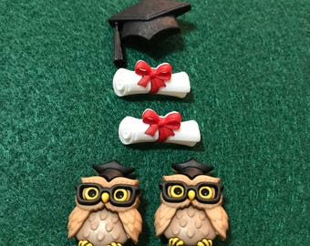 Graduation Novelty Buttons/Black Cap Wise Owl Glasses Elementary/Sewing supplies /DIY craft supplies /Plastic Buttons /Party Supplies