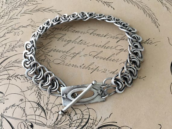 Silver Chain Bracelet, Hand Forged Jewelry, Arts and Crafts Style, Oxidized Silver