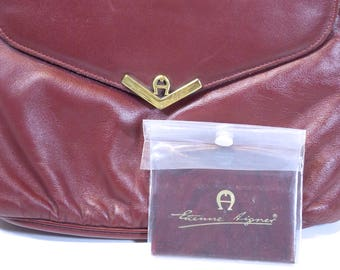 Etienne Aigner Cross-body Shoulder Bag, Clutch, Purse, Oxblood Leather, circa 70s