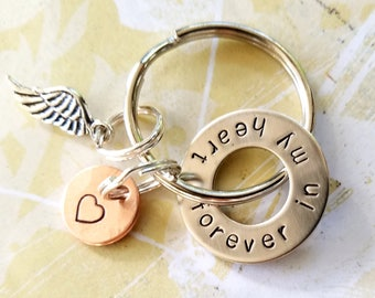 Memorial forever in my heart Keychain with Nickel Silver Copper Angel Wing - In Memory Of Gift - Loss of Mother Father Husband Child