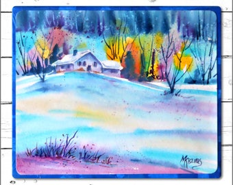 Watercolor on Canvas, Watercolor Easel, Watercolor Snow, Cabin Art, Blue Orange, Colorado, Snow, Art With Heart,Martha Kisling