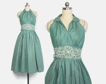 Vintage 50s SUN DRESS / 1950s Embroidered Green Chambray Cotton Halter Rockabilly Dress