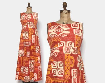 Vintage 60s HAWAIIAN DRESS / 1960s Tribal Print Cotton HoloMuu Maxi Dress M