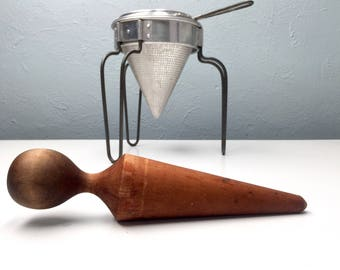 Vintage Food Sieve with Wooden Pestle, Farmhouse Kitchen Colander