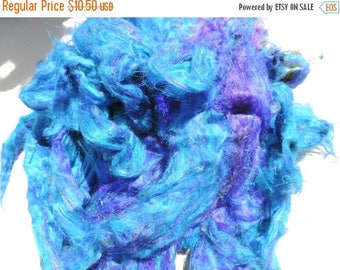 On Sale NEW Color Blue Carded Sari Silk Fiber Roving Form 4 Ounces So So Soft And VIVID