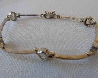 Vintage bracelet, sterling bracelet, crystal bracelet, 7 inch bracelet, flexible bracelet,925 bracelet,safety clip