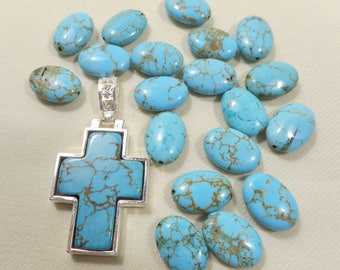 """Silver & Turquoise Cross Pendent  2 1/8"""" x 1 1/16"""" with 19 Oval Turquoise Magnasite Beads 18x12mm"""