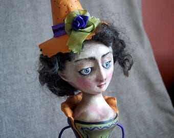 Penelope the Good Witch--a mixed media art doll by Jan Conwell