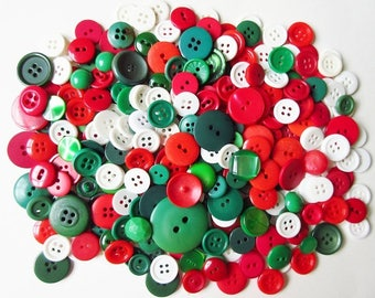 Christmas Red, Green & White Button Mix, Vintage Lot of 300