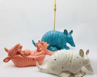 Ceramic Armadillo Photo Holder~Recipe Card Holder~Memo Holder