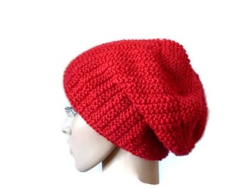 Knit Slouchy Beanie, Winter Knit Beanie, Wool Hat, Womens Slouchy Hat, Red Slouchy Beanie