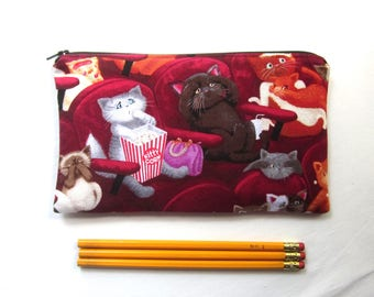 Scaredy Cats Fabric Zipper Pouch / Pencil Case / Make Up Bag / Clutch