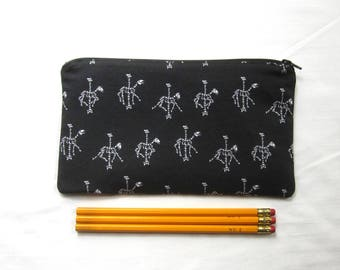 Horse Skeleton Carousel Fabric Zipper Pouch / Pencil Case / Make Up Bag / Gadget Sack