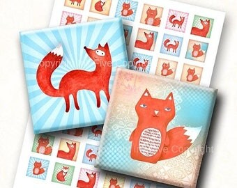 Ginger Fox 1 inch squares digital collage sheet. Woodland animals digital download for scrapbooking, magnets. Printable images