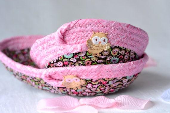 Girl Desk Accessory Basket Set of 2, Handmade Owl Bowl, Jewelry Catcher, Fall Desk Organizer Set of 2, Cute  Fiber Bowls