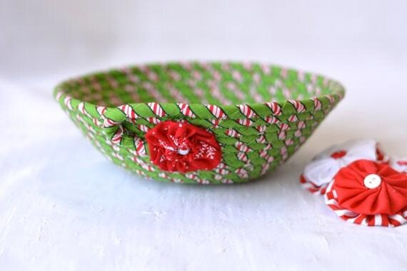 Green Christmas Decoration, Holiday Candy Dish Bowl, Handmade Christmas Basket, Holiday Candy Cane Decoration, Stocking Stuffer