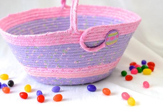 Girl Easter Basket, Handmade Flower Girl Basket, Violet Easter Decoration, Easter Egg Hunt Bag, Purple Easter Bucket for a Girl