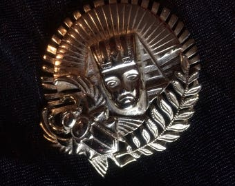 Goldtone King Tut Brooch
