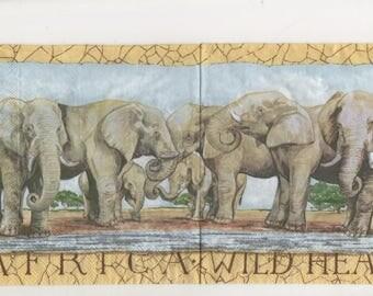 3298 lot 2 African elephant herd paper napkins