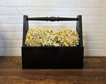 Rustic Black Farmhouse Wood Tool Garden Caddy Tote Centerpiece Wedding