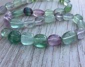 Fluorit Oval Nugget Perlen, Fluorit, Fluorit ovale, 11-13 mm ca. 16-Zoll-Strang